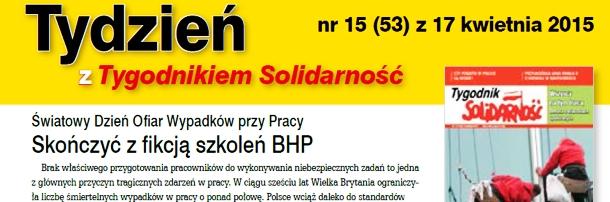 """""""Tydzień z Tygodnikiem Solidarność"""" nr 15"""